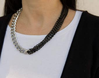 METAL CHAIN NECKLACE, silver and black, metal, fashionable, women gift, accessories, gift, women, намисто, cadena, catena, An-If In Chains
