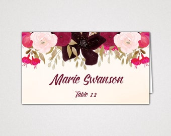 Boho Wedding Place Card Template: Custom Printable Bohemian Reception Placement Cards, DIY Digital Instant Download Editable PDF K002