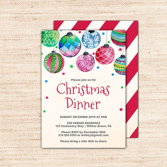 ornament christmas dinner invitations template printable holiday invites with a hanging baubles. Black Bedroom Furniture Sets. Home Design Ideas