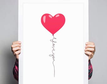 Red Balloon Art • Nursery Art Heart Balloons I Love You Sign Love Balloon Nursery Wall Art Love Sign I Love You Gifts Love Letter Love Print