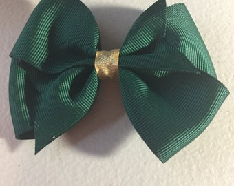 Green and gold hair bow