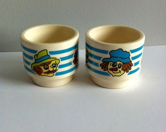 Hornsea Pottery Egg Cups x 2 - Toffee and Mallow, 1972