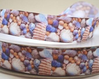 "1"" Seashells and Rocks - Nautical Print Grosgrain Ribbon"