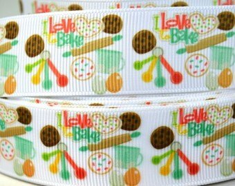 "1"" Kitchen Utensils - I Love to Bake - Grosgrain Ribbon"