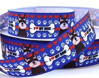 "7/8"" Schnauzer Dog - I Love My Dog - Grosgrain Ribbon"