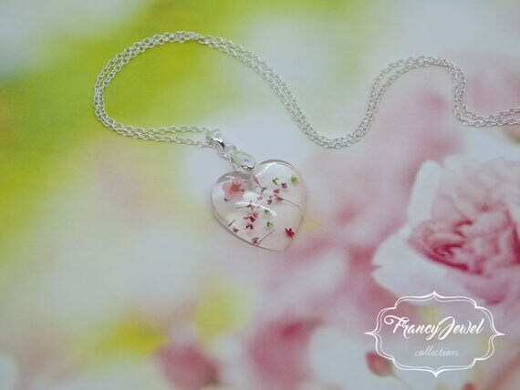 OOAK jewelry, 925 silver necklace, unique flower necklace, dried flower resin pendant, real flowers jewelry, made in Italy, Mother's gift