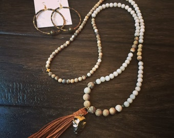 Necklace only!! Cream and tan beaded necklace with tassel/arrowhead