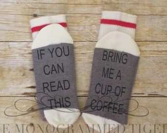 If you can read this bring me coffee socks, if you can read this bring me wine socks, best seller, bring me tacos