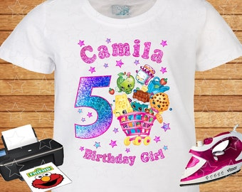 Any Name and Numeral T-shirt Birthday Girl. Shopkins Birthday Shirts. Birthday Party. Iron on Transfer. Family Shirts. Printable. 5.