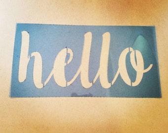 Hello stencil wall art reusable mylar