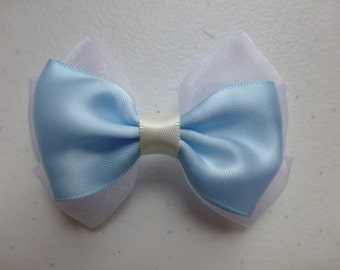 Beautiful Blue  Satin and white chiffon Hair Bows Hair Accessories Hair Clip Hair Pins Hair Stick