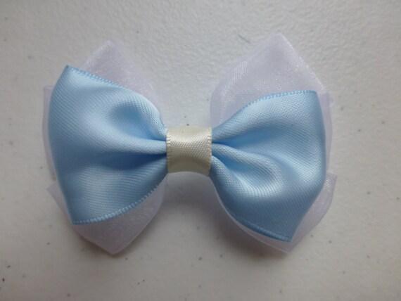 Beautiful Blue  Satin and white chiffon Hair Bows Hair Accessories Hair Clip Hair Pins Hair Stick