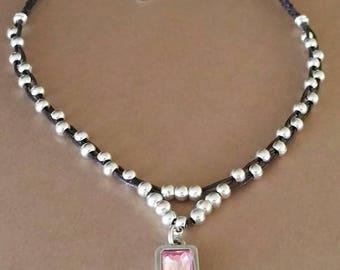 Swarovski necklace, Swarovski rose, Swarovski tanzanite, zamak and swarovski necklace