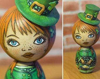 A Leprechaun Girl. Kokeshi doll.
