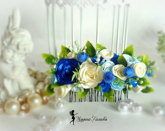 Hair comb of satin roses