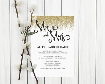 Faux Gold Wedding Invitations, Printable Wedding Invitations, Editable Text Wedding Invitation, Classic Wedding Invitations Templates