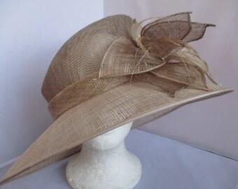 Wedding/Ascot/BRIDAL/FORMAL, GOLD  ladies  hat . Size-M