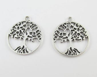 Bulk Tree of Life Charm Pendant 29x25mm Antique Silver Select Qty 5/10/20