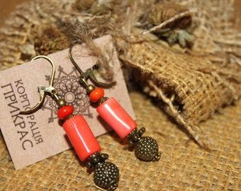 Pink coral earrings, long coral earrings, natural coral earrings, pale coral earrings, orange coral earrings dangle coral earrings Ukrainian