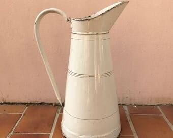 Vintage French Enamel pitcher jug water enameled beige gold line 12041711