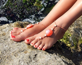 Coral barefoot sandals, Coral feet jewelry, Cute anklets, Anklet jewelry, Beaded anklets