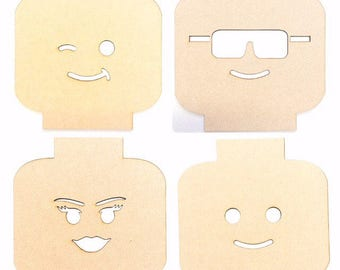 Lego Head, MDF Shape, Wood Blank, Cut Out Wood, Laser Cut Wood, Boys Bedroom, Wall Decor, Girls Bedroom, Craft Supplies, Geek Art, To Paint