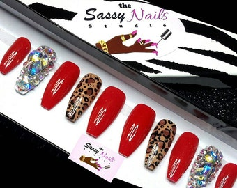 Sassy Glue On Nails: Bold Red leopard and Ballerina Shaped Nails With A Full Sparkling Bling Nail press on nails, custom nails, fake nails