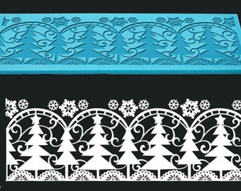 Band Silicone lace trees of Christmas 190 x 70 mm Cake Design