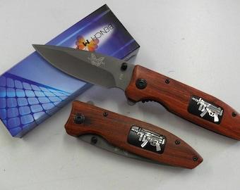 Nice Pocket 9 cm handle steel blade folding knife wood engraved Outdoor 11.5 cm