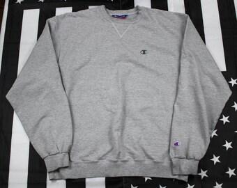 Vintage 90s Champion crew neck sweatshirt Size L/XL Oversized DISTRESSED