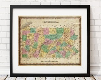 Pennsylvania Map Print, Vintage Map Art, Antique Map, Wall Art, History Gift, Old Maps, Pennsylvania Gifts, Pennsylvania Print, PA map