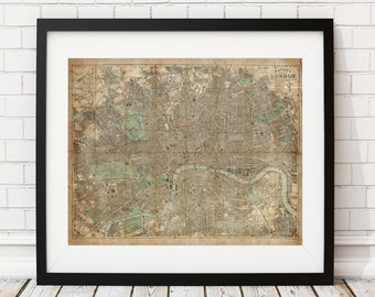 London Map Print, Vintage Map Art, Antique Map, City Maps, Map of London, Old Maps, Map Poster, London Print, London Art, England Map, Gifts