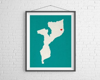 Custom Mozambique Silhouette Print, Customized Map Art, Personalized Gift, Heart Map Print, Mozambique Map, Africa Gifts, African Art