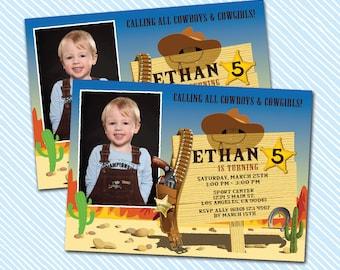 Digital Printable Cowboy Birthday Invitation