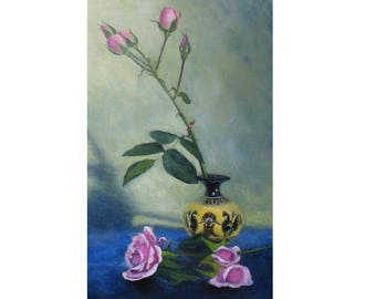 oil painting // flower still life roses in vase // hand-painted impressionism contemporary art