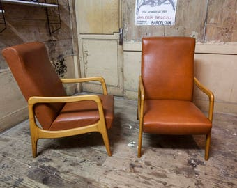 Rare pair of Scandinavian armchairs Stella 50's made in France