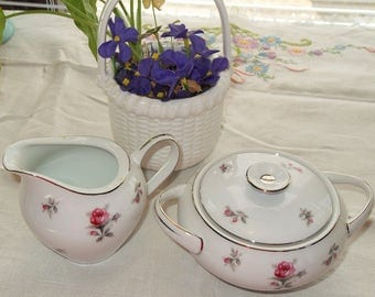 Vintage Rosechintz Creamer and Covered Sugar Bowl Meito Japan Pink Chintz
