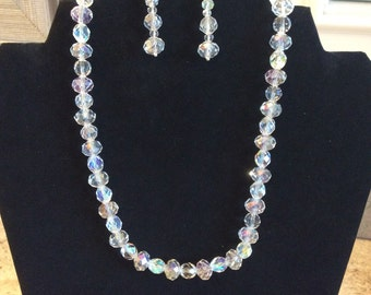 18' Swarovski Crystal Clear AB Necklace and FREE Matching Earrings