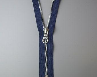 17.5cm Nickel Zipper with Navy Tape, UK Stock