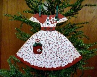 Paper Dress Ornament, Handmade Ornament, Paper Ornament, Handmade Dress Ornament, Vintage Inspired Christmas