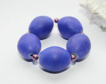 Trade beads, eggs, Royal Blue goose eggs, 18 mm