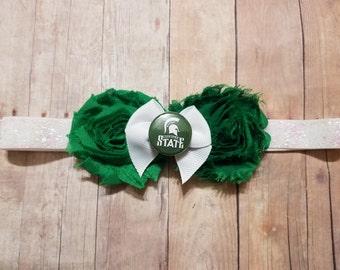 baby girl Michigan State headband-Michigan state for girl-spartan headband-michigan state football-michigan state kids-michigan for toddler