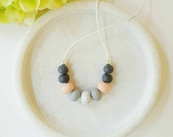 Clay necklace , pink and grey necklace , beaded necklace , leather cord necklace , chic necklace , casual necklace