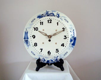 SALE! Vintage 1950's? Blue and White Delft style Pottery Wall Clock