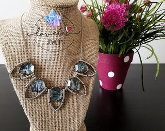 Five Point Opal Pendent Statement Necklace With Crystal Accents