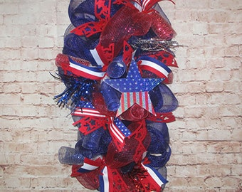 Free Shipping! Patriotic Memorial Day, 4th of July Wreath Swag, Holiday Decor