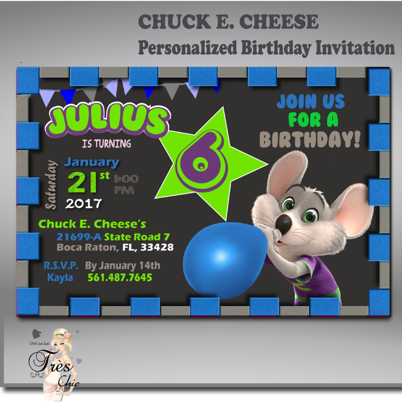CHUCK E CHEESE INVITATIONAny Age Birthday Invitation
