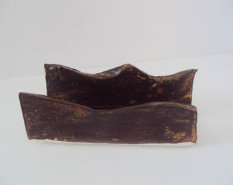 Brown ceramic business card holder, brown business card holder,