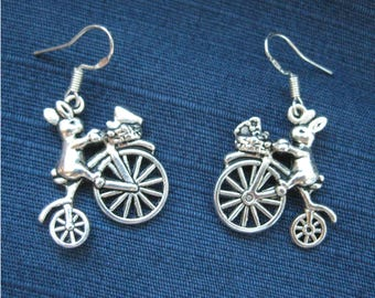 Rabbit on Penny farthing Earrings