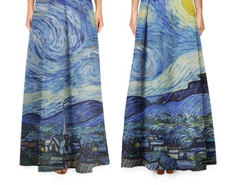Starry Night By Vincent Van Gogh paintings printed skirt / maxi /medium / pencil